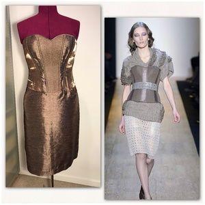 Max Azria (BCBG) champagne strapless dress. NWT